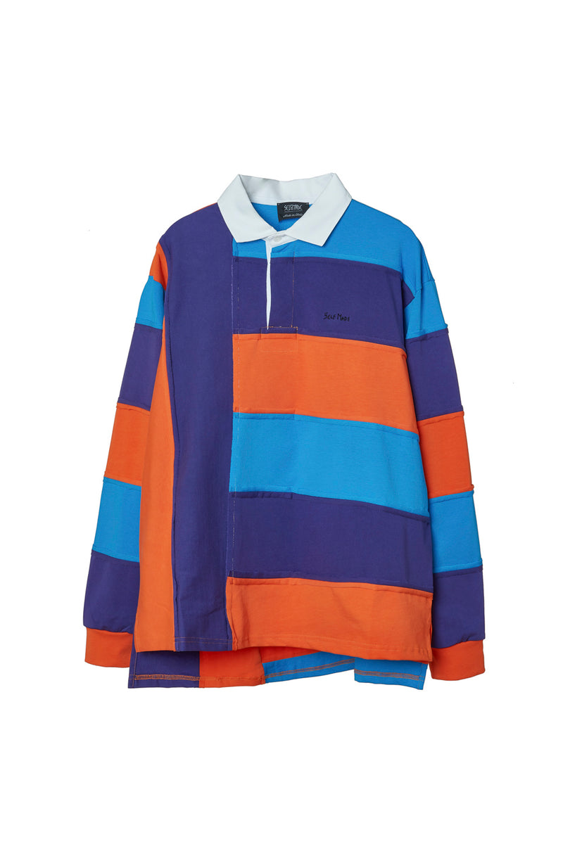SELF MADE INTARSIA STRIPED LONG SLEEVE SHIRT POLO