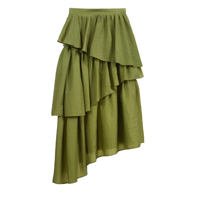 HOUSE OF HOLLAND Khaki Frill Midi Skirt