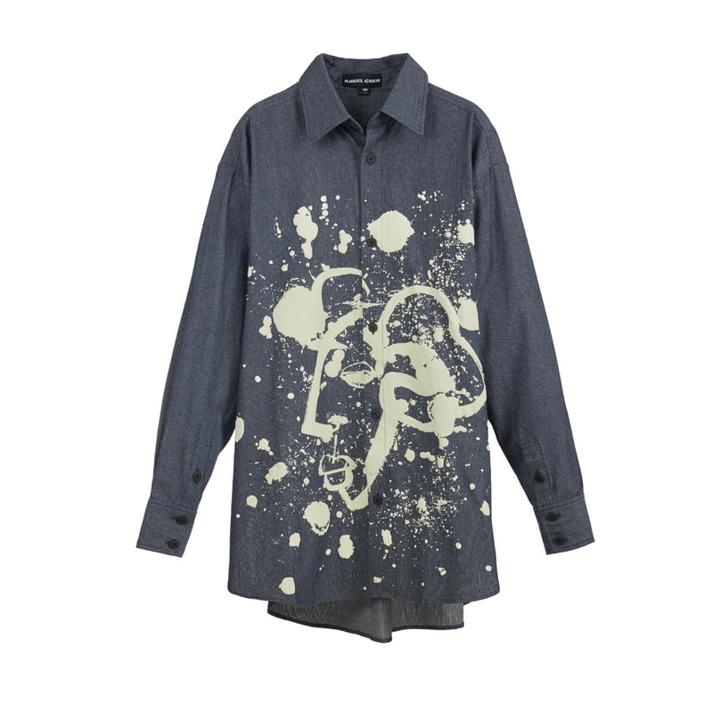 ANGEL CHEN Printed Oversized Denim Shirt