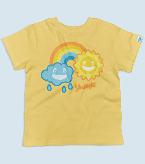 Yellow toddler tee with yumie april showers design