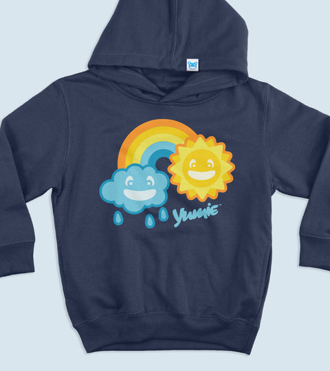 Tot size navy hooded sweatshirt with yumie rainbow print