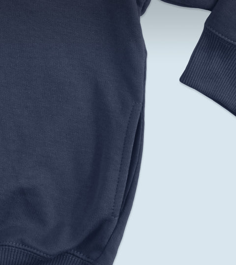 Close up of navy blue sweatshirt pocket