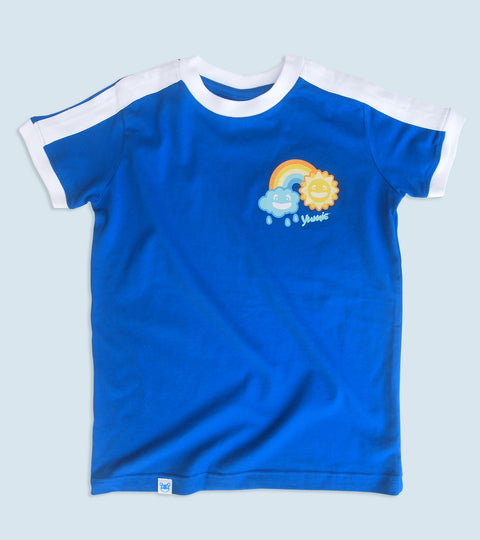 Youngsters blue t-shirt with yumie rainbow cloud design