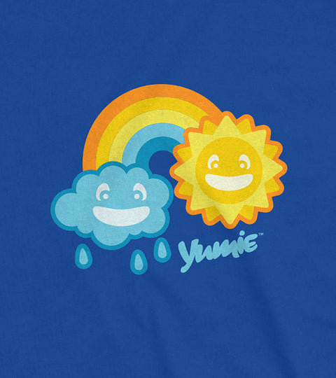 Youth size blue ringer tee with yumie april showers graphic