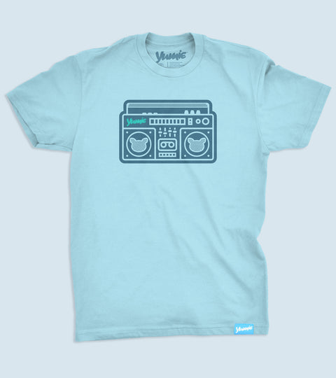 Teens sky blue tee with yumie boombox printed on front