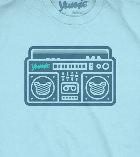 Childs light blue t-shirt with yumie boombox design