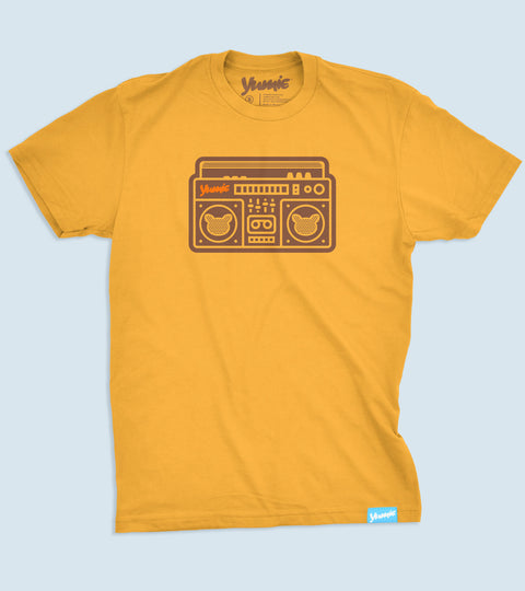 Youth bright golden tee with yumie boombox design on front