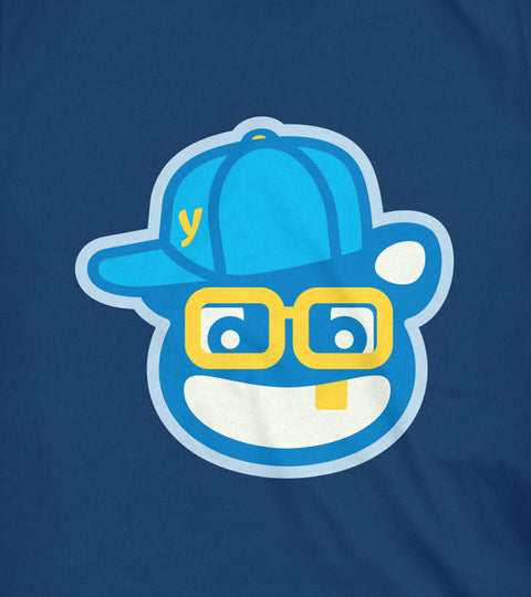 Yumie old school hip hop t-shirt design on a navy blue tee
