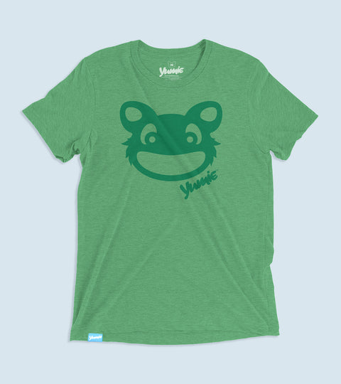 Childish adults tee with green yumie brand critter face on front