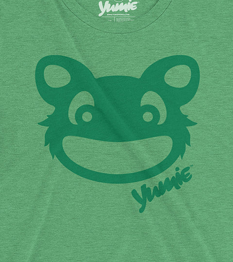 Green adult triblend t-shirt with yumie critter design