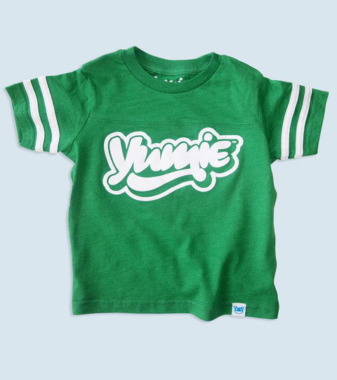 Little kids green ringer football shirt with yumie logo on front