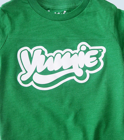 Toddler green football shirt with yumie logo design
