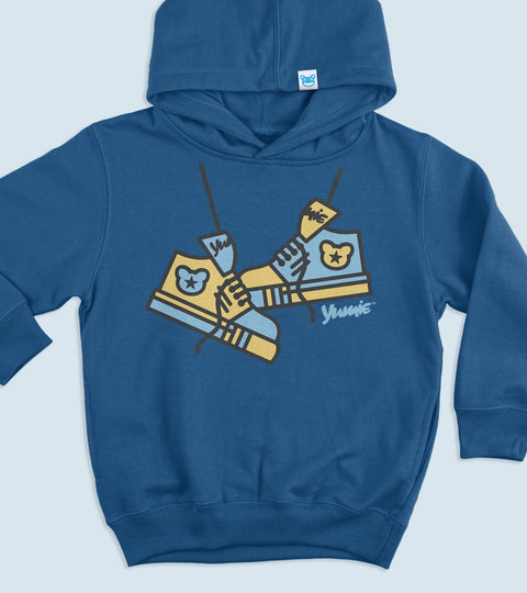 Vintage royal hoodie with yumie sneaker graphic