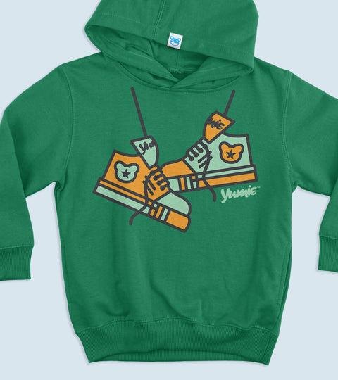 Green tot size hooded sweatshirt with yumie hi top graphic