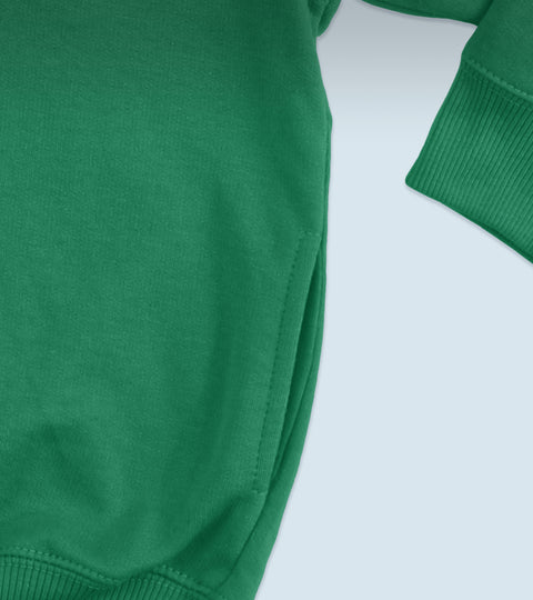 Close up of kelly green sweatshirt pocket