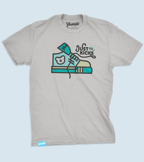 Gray t-shirt with just for kicks graphic on chest