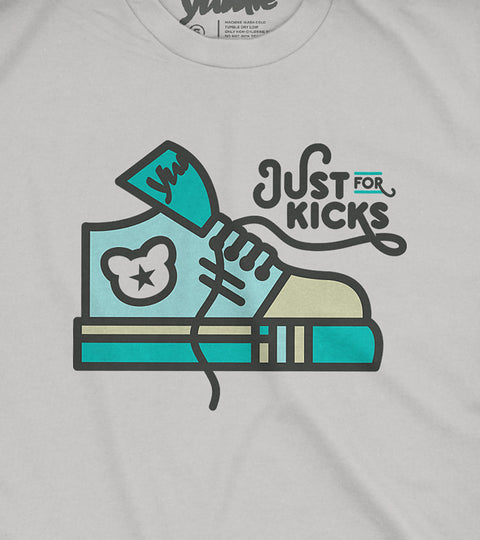 Youth gray tee with green sneaker design
