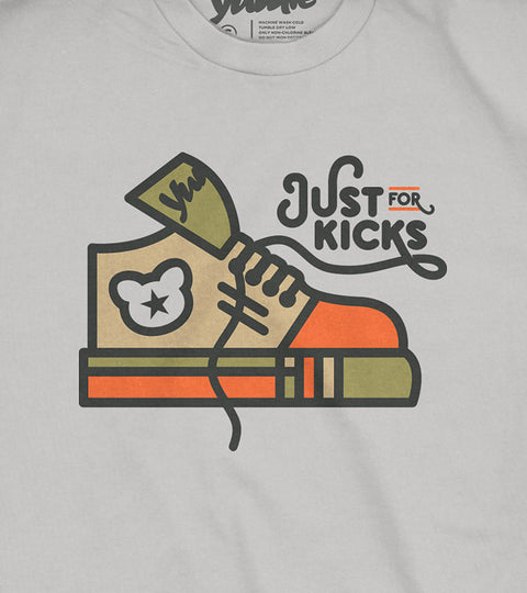 Youth gray tee with orange and green shoe graphic