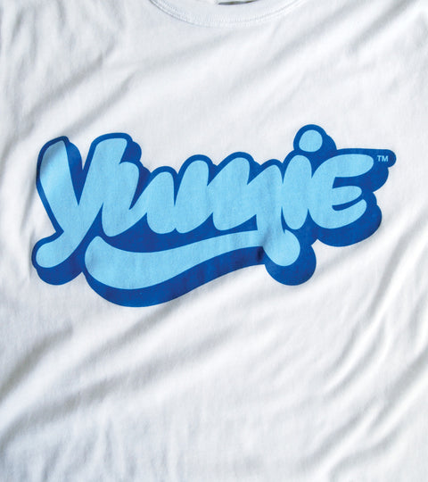Plain white t-shirt with blue yumie logo graphic
