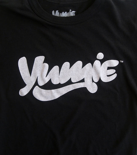 Plain black t-shirt with white yumie logo graphic