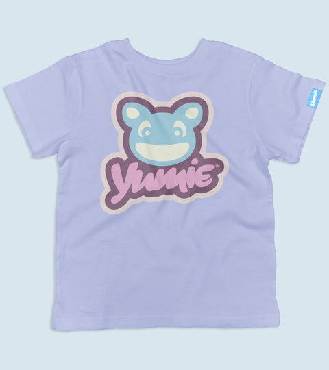 Lilac color toddler tee with blue and pink yumie logo graphic