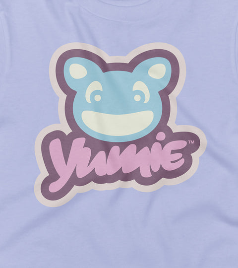 Yumie brand logo on a purple t-shirt