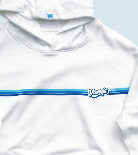 White hooded sweatshirt with yumie brand blue horizon stripe graphic