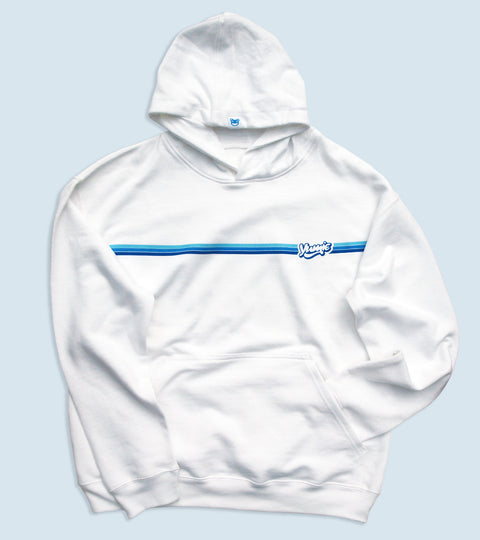 White hooded sweatshirt with yumie my blue heaven design on front