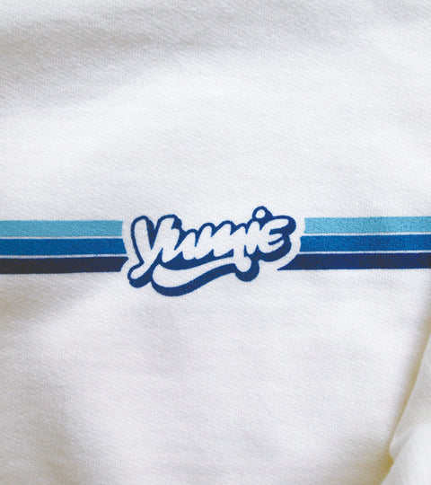 White hoodie with three blue stripes and yumie logo