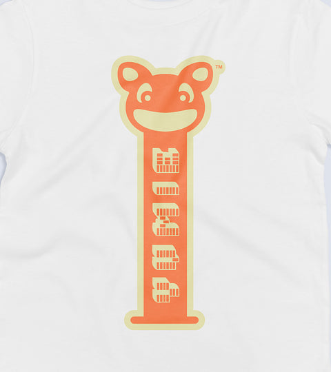 White tee with orange candy dispenser graphic