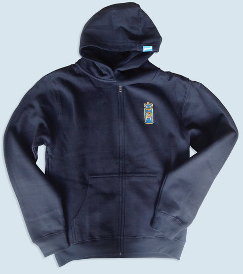 Navy blue hooded sweatshirt with spray can graffiti embroidered emblem