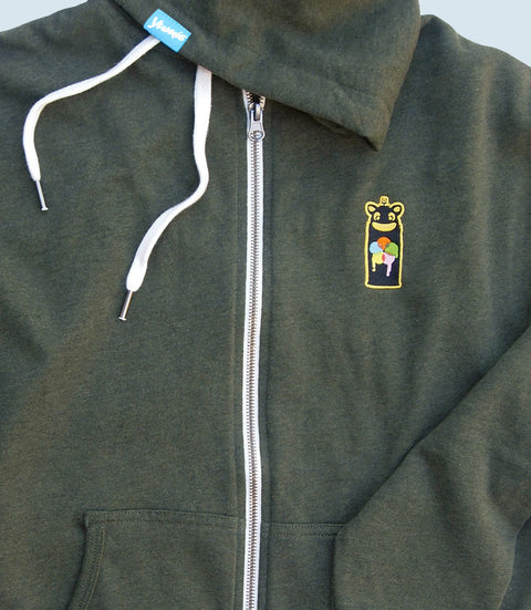 Olive green zipper hoodie with yumie brand spray can logo