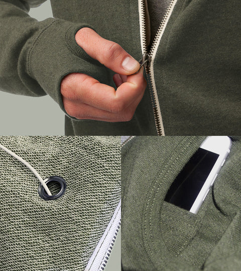 Detail features of green sweatshirt with iPhone pocket and earbuds