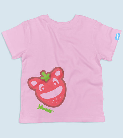 Toddler pink tee with yumie strawberry design