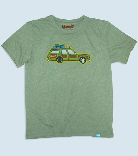 The yumie truckster graphic on an adult vintage pine t-shirt
