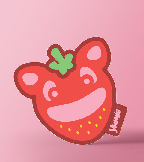 Yumie brand jam on strawberry sticker