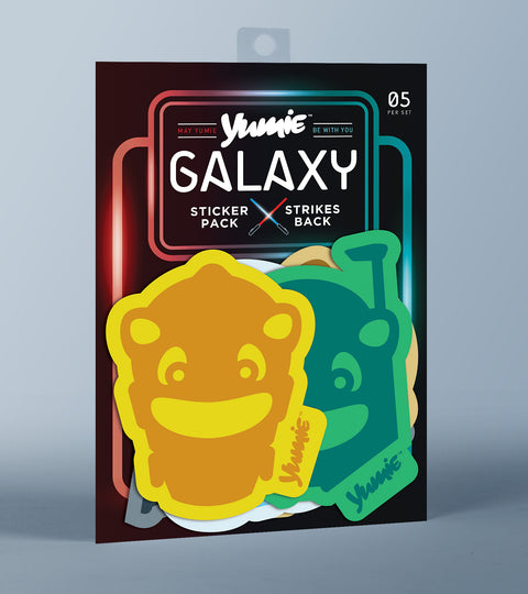Galaxy sticker pack containing five Yumie brand stickers on a grey background