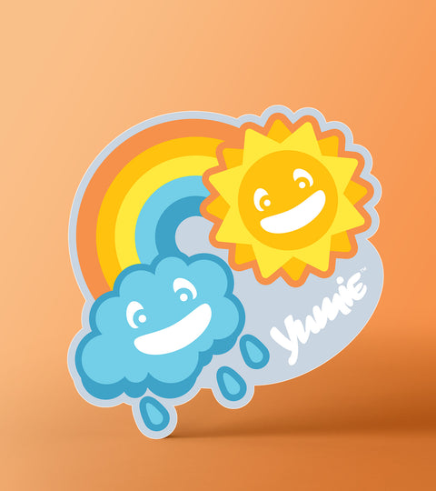 april showers Yumie brand sticker on an orange background
