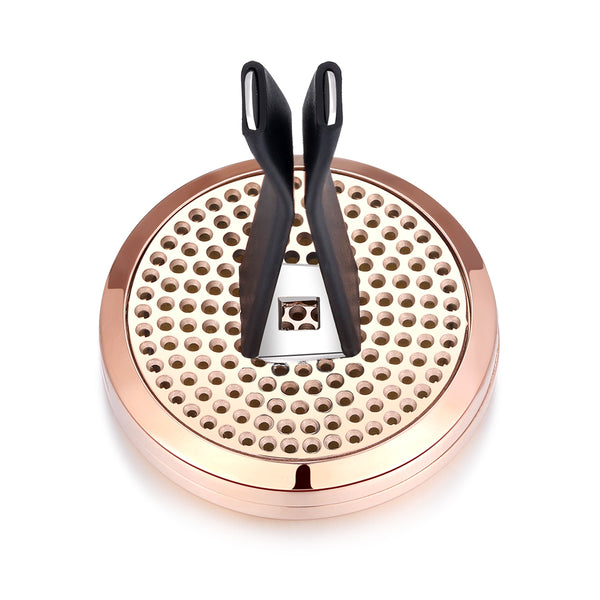 Mesinya(30mm) Rose Gold Air Freshener Diffuser 316L Stainless Steel Aromatherapy Essential Oil Car Vent Clip Diffuser Lockets (Just Breathe)