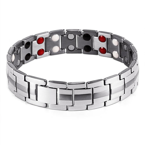 Mesinya Men Silver Health Magnet Germanium Healthy Therapy Bracelet