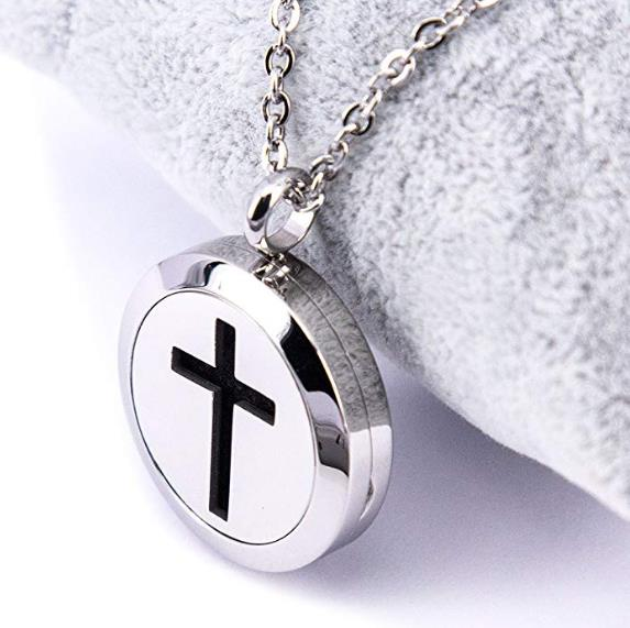 Mesinya 1''(25mm)Cross Aromatherapy / 316L s.steel Essential Oils Diffuser Locket Necklace