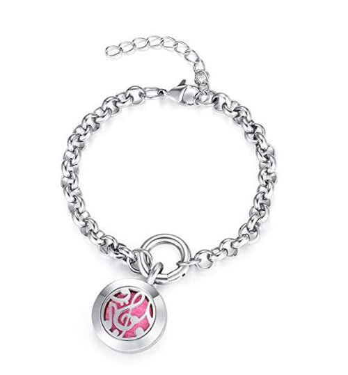Mesinya 20MM Assorted Adjustable Essential Oil Diffuser Locket Bracelet 316L Stainless Steel Spring Lock Charm Locket Bangle for Kids Girls Woman