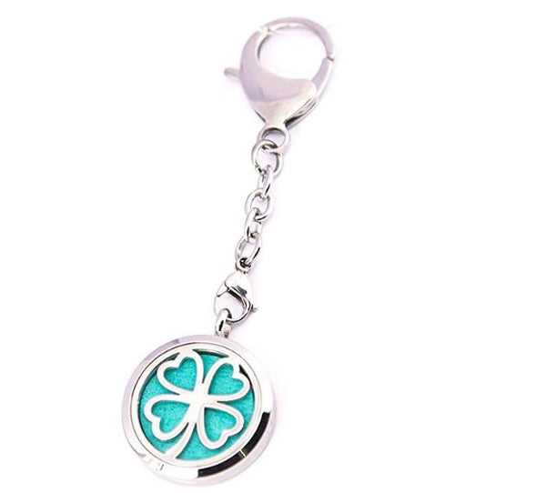 Mesinya 30mm Good Luck Clover bag clip Aromatherapy and Essential Oils Diffuser pendant Locket Necklace