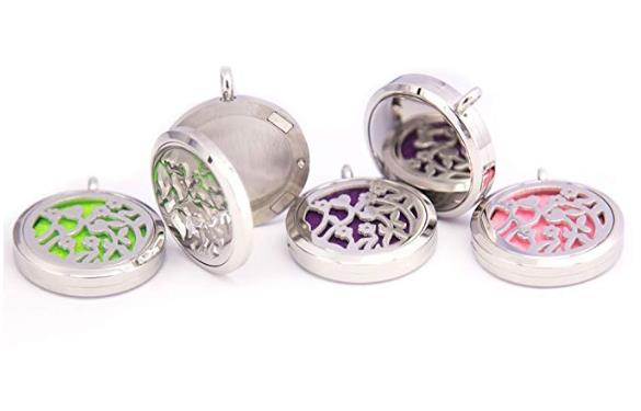 Mesinya 30mm Flowers bag clip Aromatherapy and Essential Oils Diffuser pendant Locket Necklace