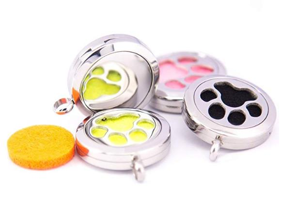 Mesinya new 25mm dog paw Aromatherapy bag clip and Essential Oils Diffuser pedant Locket Necklace