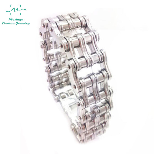 Mesinya Stainless Steel Mens Bracelet Bike Chain Wide Motorcycle Heavy Bangle Man Jewelry