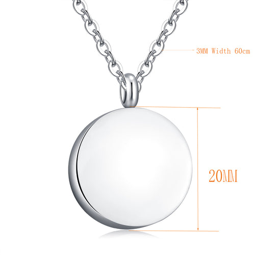 10pcs Engraved Round Blank Ashes Necklace Urn  Cremation Memorial Necklace W/Chain