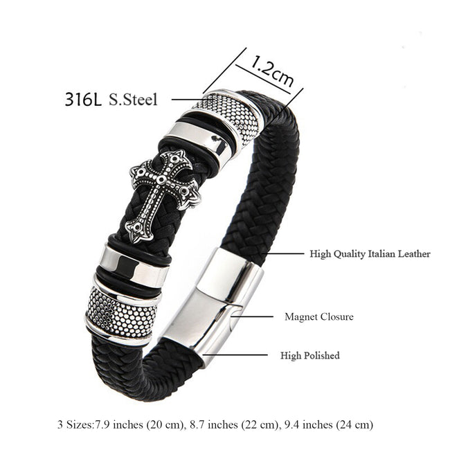 Man's Jewelry Gift Cross Magnetic Buckle Hypoallergenic Stainless Steel and Leather Bracelet Bangle