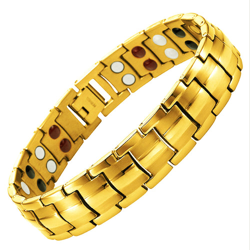 Mesinya Men Gold Health Magnet Germanium Healthy Therapy Bracelet