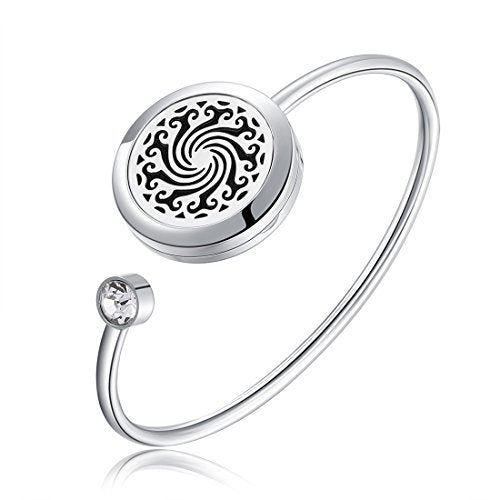 Mesinya Men Women Girl Boy's Gift 316L Stainless Steel Adjustable Aromatherapy Essential Oil Diffuser Bracelet Locket Bangle (WhirlWind 1'')